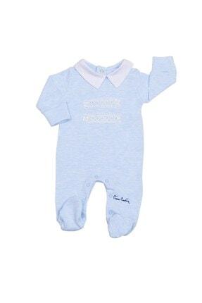 Pierre Cardin Baby Pierre Cardin Düğmeli Erkek Bebek Tulumu Mavi Melanj