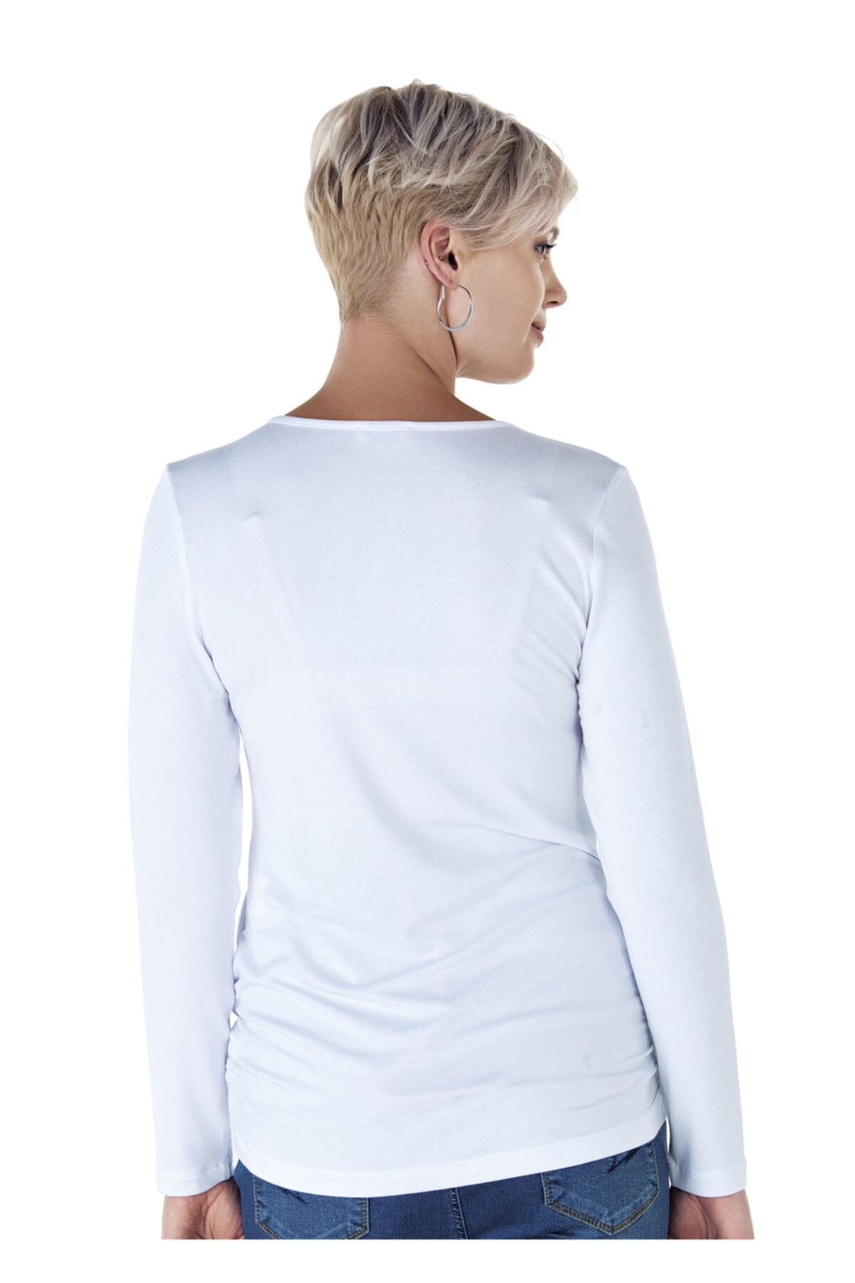 Ebru Maternity 4256 - Yuvarlak Yaka Beyaz Hamile Tişörtü 2
