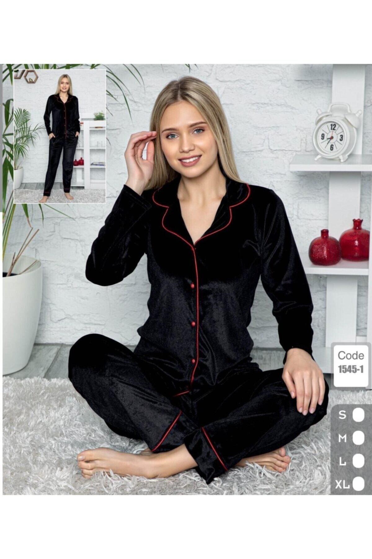 Mihra Stil Mihra Kadın Siyah Önden Düğmeli Kadife Pijama Takımı 1545-1 1