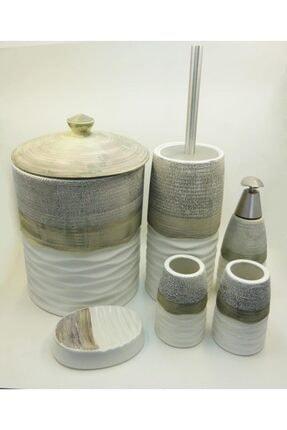 CNKHOME 6'lı Yeşil Çizgi Ve Dalga Desenli Sabunluk Fırçalılık Banyo Seti