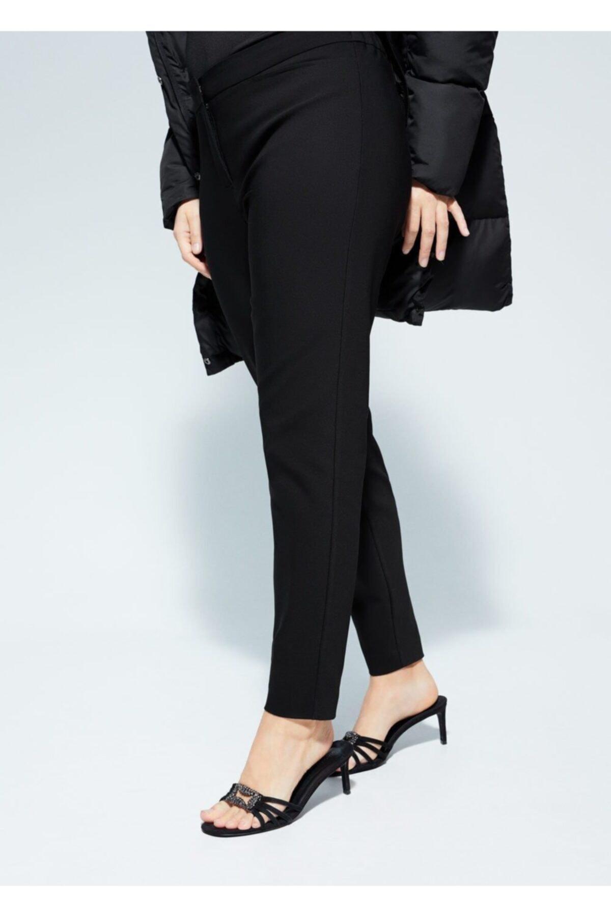 Violeta by MANGO Kadın Siyah Dar Kesimli Takım Pantolon  67050109 1