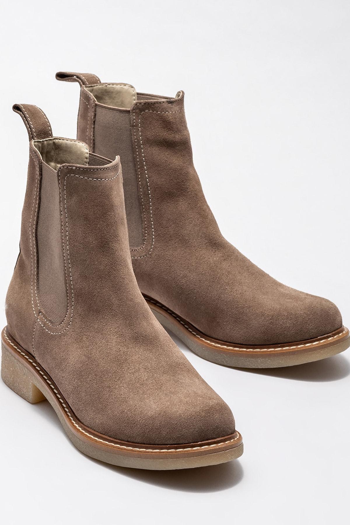 Elle Shoes Vizon Deri Kadın Günlük Düz Bot 2