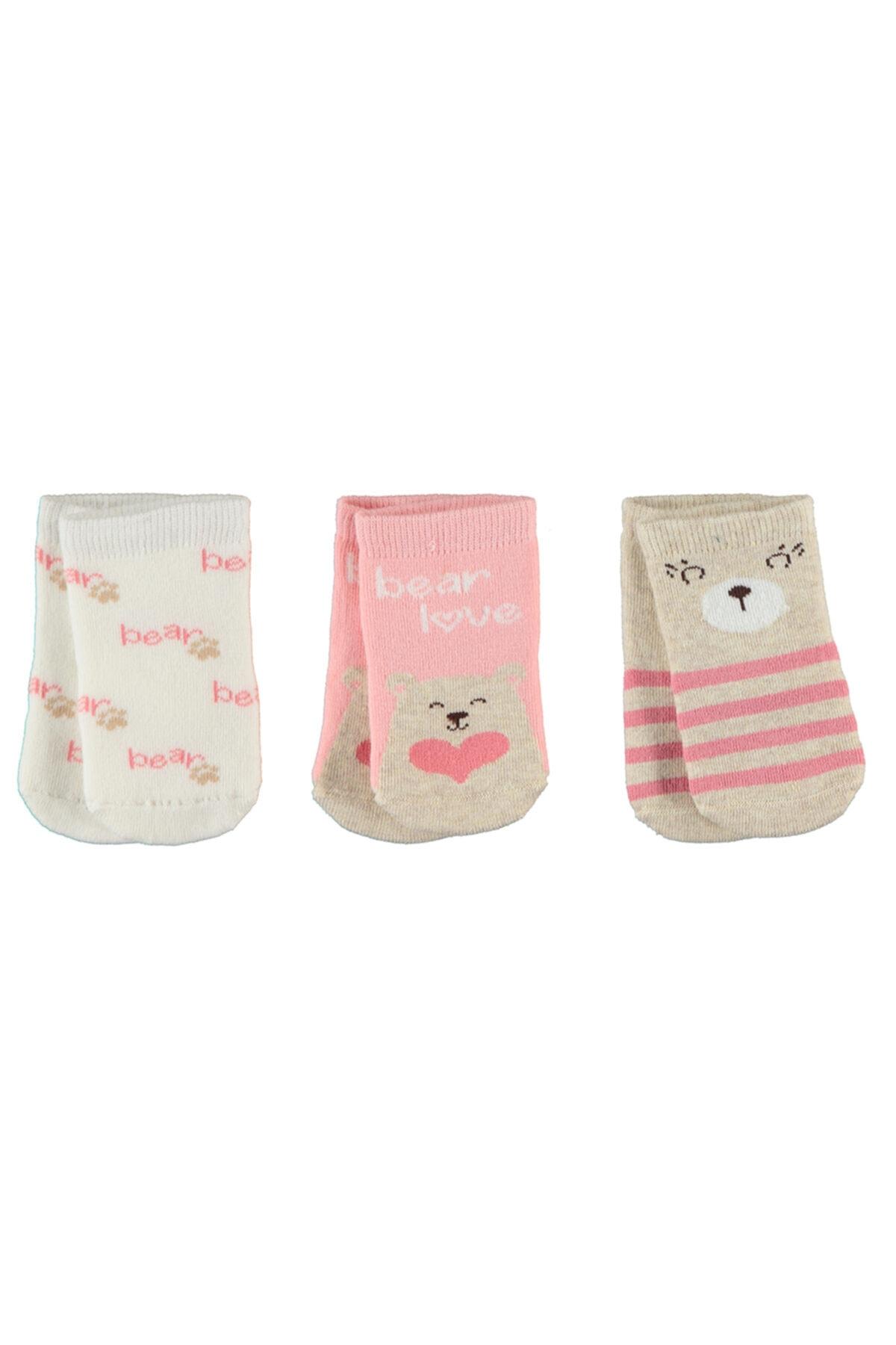 Civil Baby Kız Bebek Havlu 3'lü Çorap Set 0-24 Ay Pudra 1