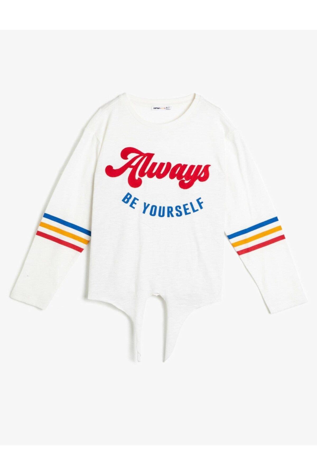 Koton Kız Çocuk Ekru T-Shirt 0YKG17522AK 1