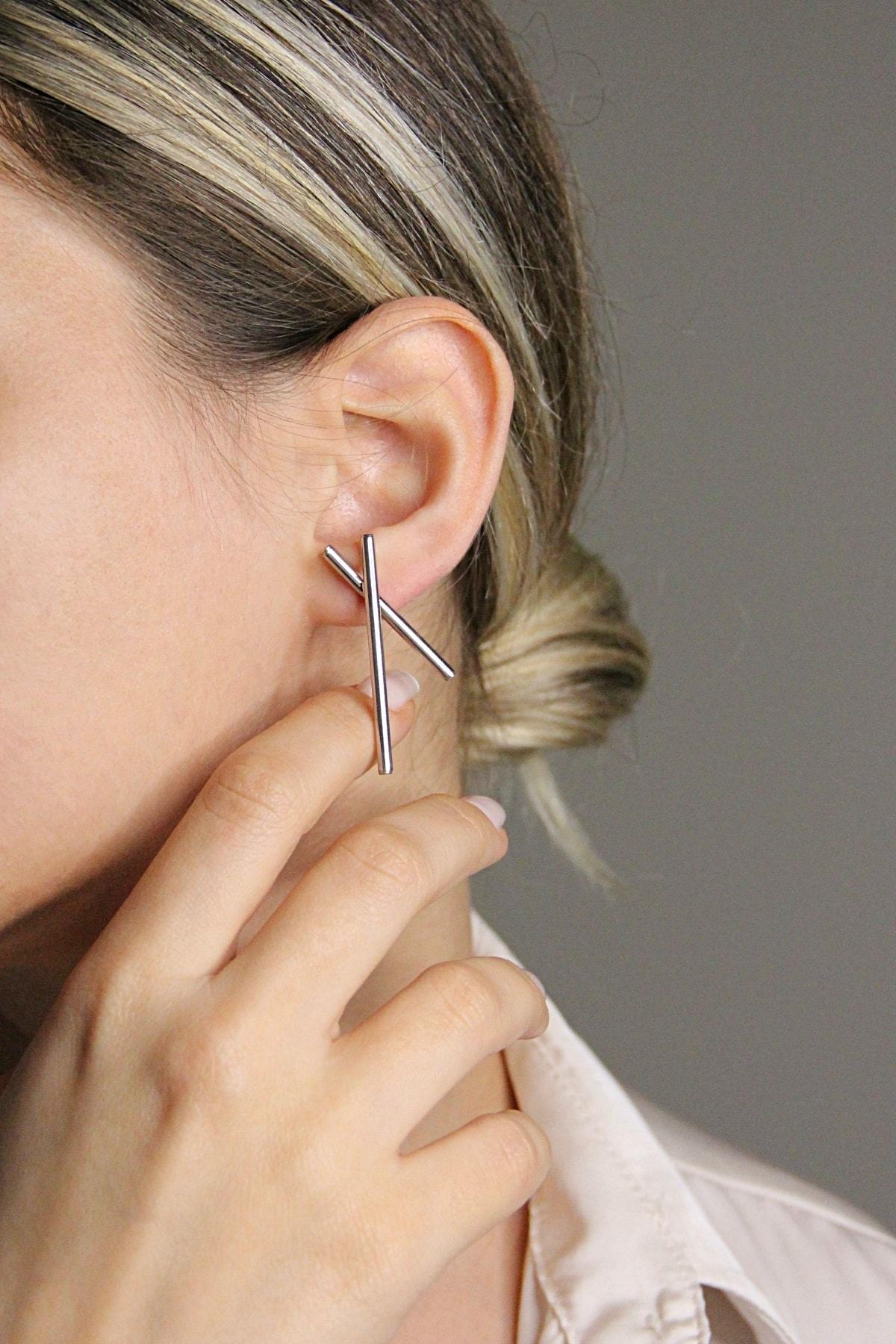 Argentum Concept Gümüş Tasarım Çubuklar Küpe - K091801 1