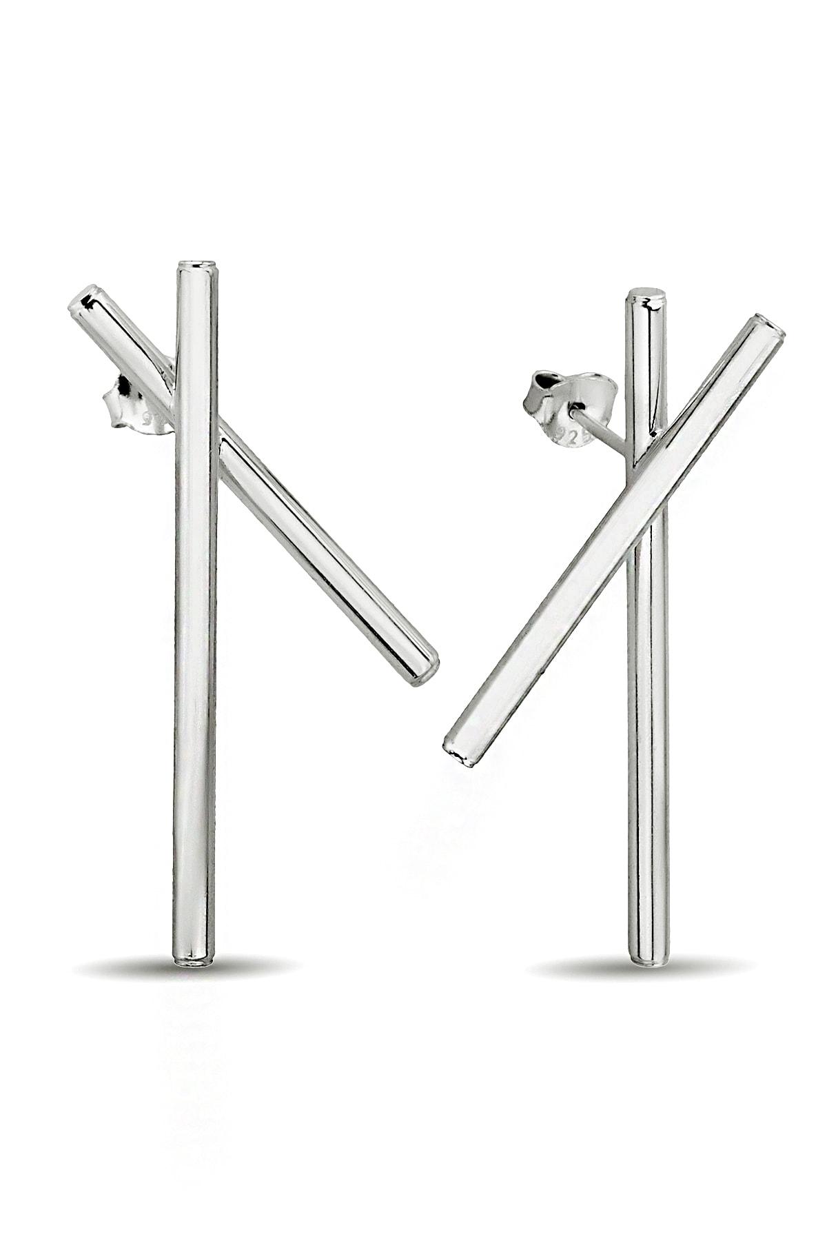Argentum Concept Gümüş Tasarım Çubuklar Küpe - K091801 2
