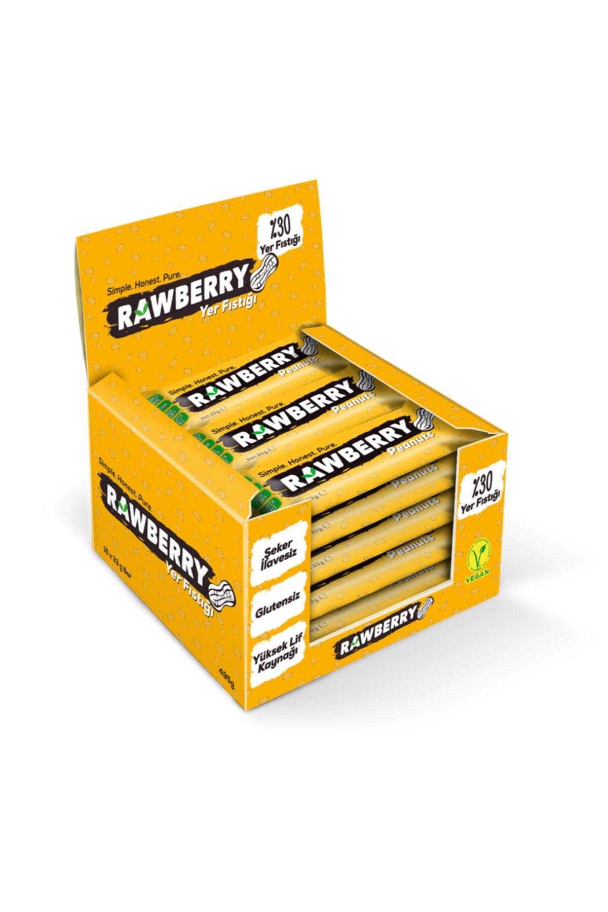 Rawberry Yer Fıstıklı Şeker Ilavesiz Vegan Glutensiz Kuruyemiş Bar (kutuda 15 Adet) 1