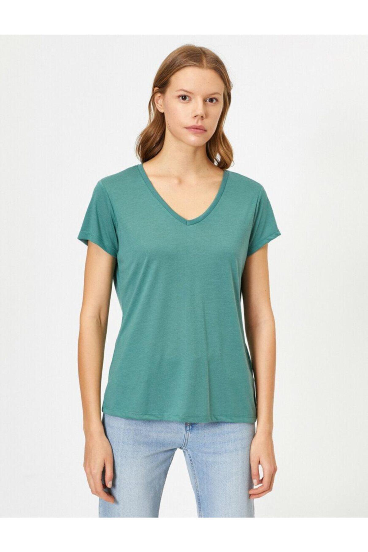 Koton Kadın Kahve V Yaka T-Shirt 0YAK13640OK 1