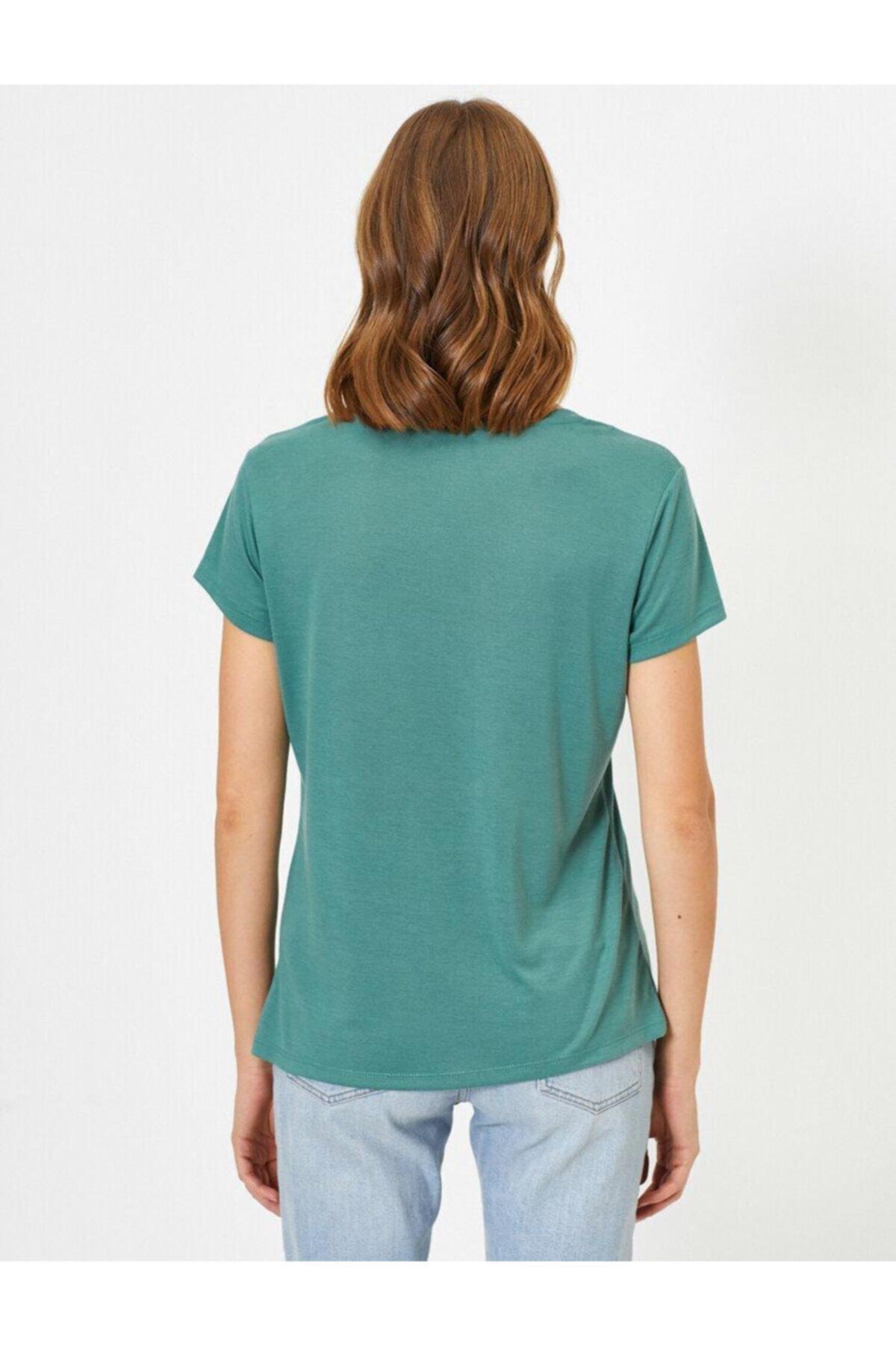 Koton Kadın Kahve V Yaka T-Shirt 0YAK13640OK 2