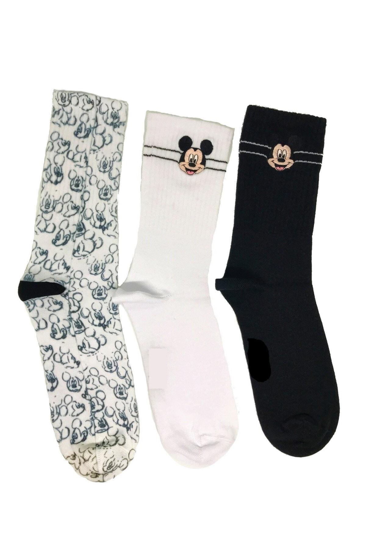 egs calze Mickey Mouse Nakışlı Ve Süblime Baskılı Özel Çorap Seti 3'lü 1