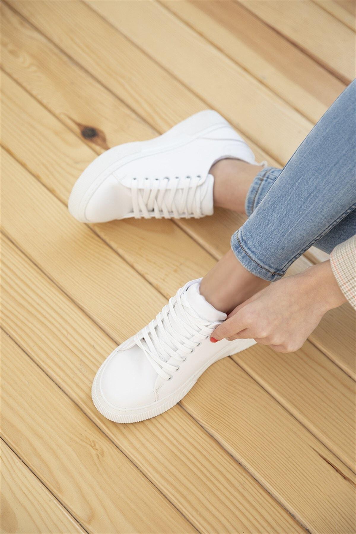 STRASWANS Papel Bayan Deri Spor Ayakkabı Beyaz 2