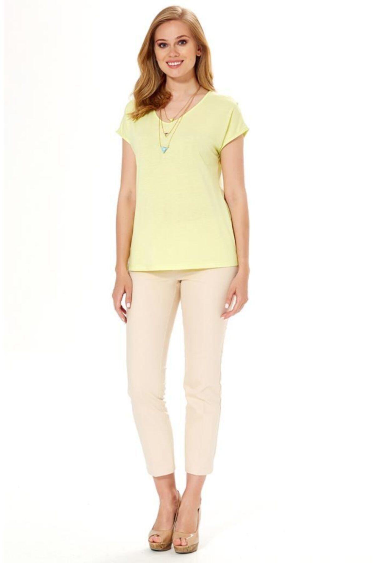 İKİLER Kadın Açık Fıstık Yeşil V Yaka Omuzu Yırtmaçlı Düğmeli Bluz 2