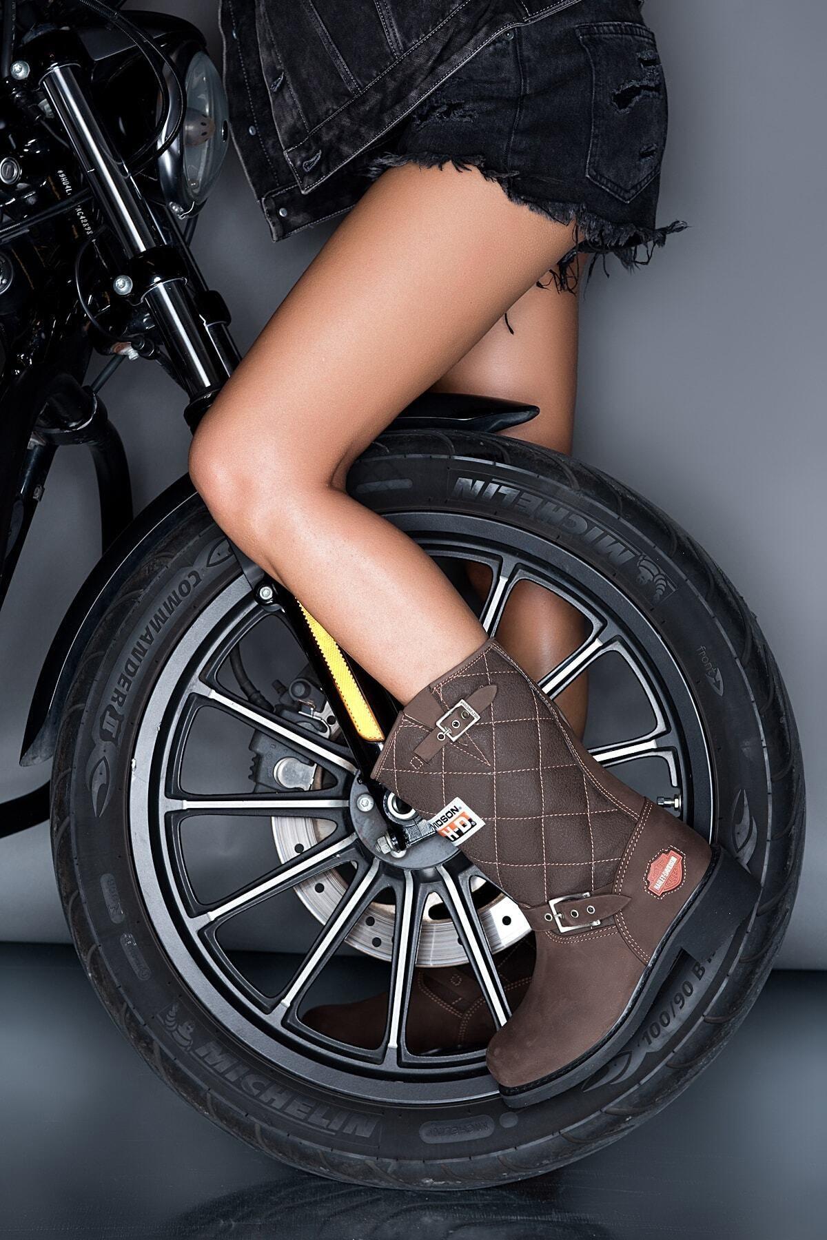 Harley Davidson Laconia Brown Deri Kadın Bot 1