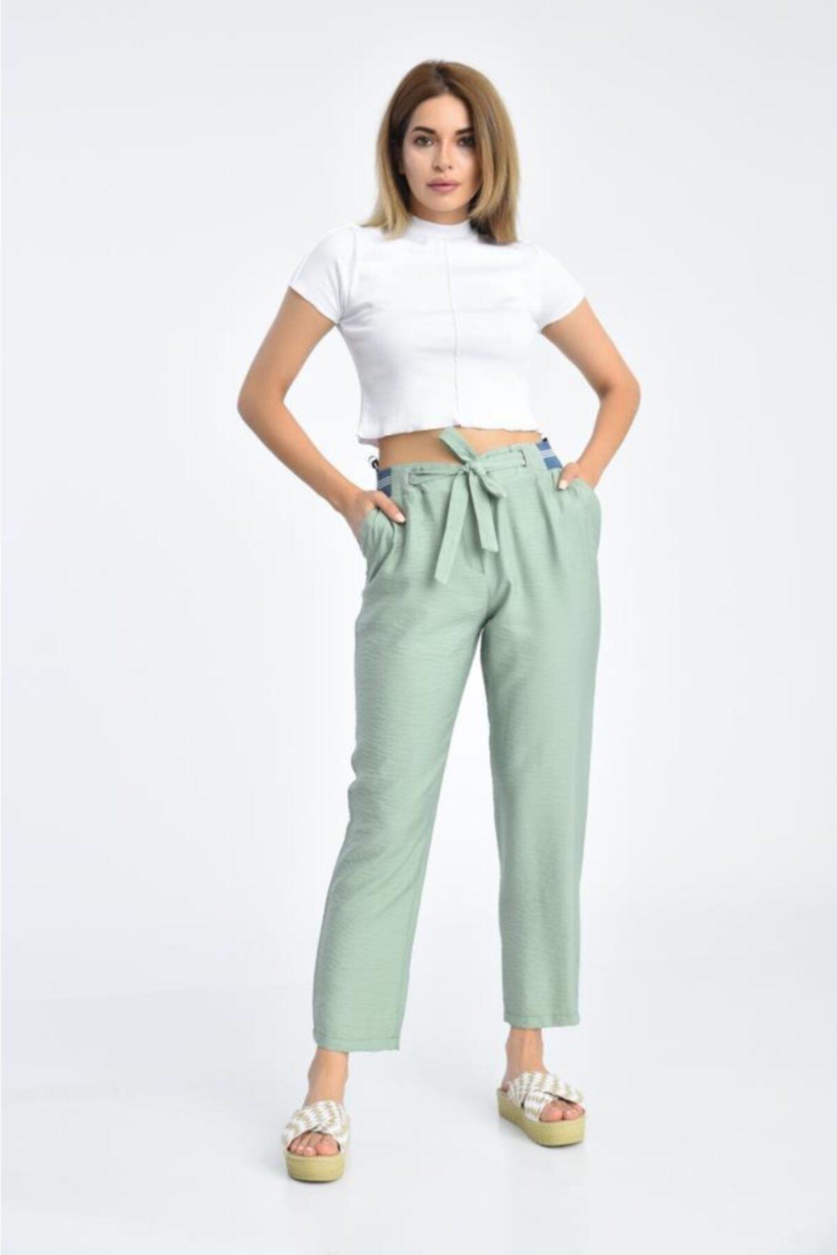 Modkofoni Bağcıklı Belden Lastikli Mint Yeşili Pantolon 1