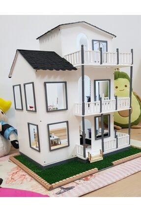 JOSSHO Ahşap Oyuncak Bebek Evi El Yapımı Eşyalı Üç Katlı Ve Işıklı