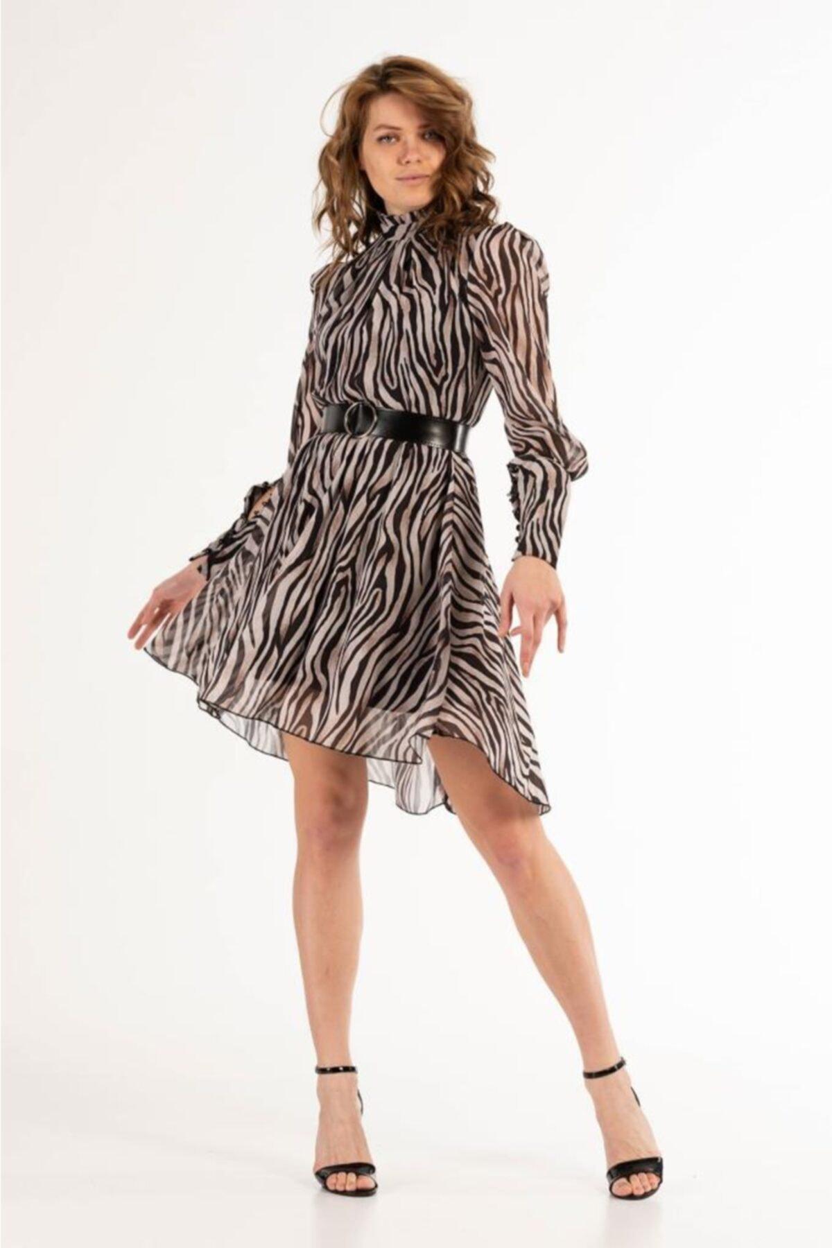 Modkofoni Zebra Desenli Ve Kemerli Tül Abiye Elbise 1