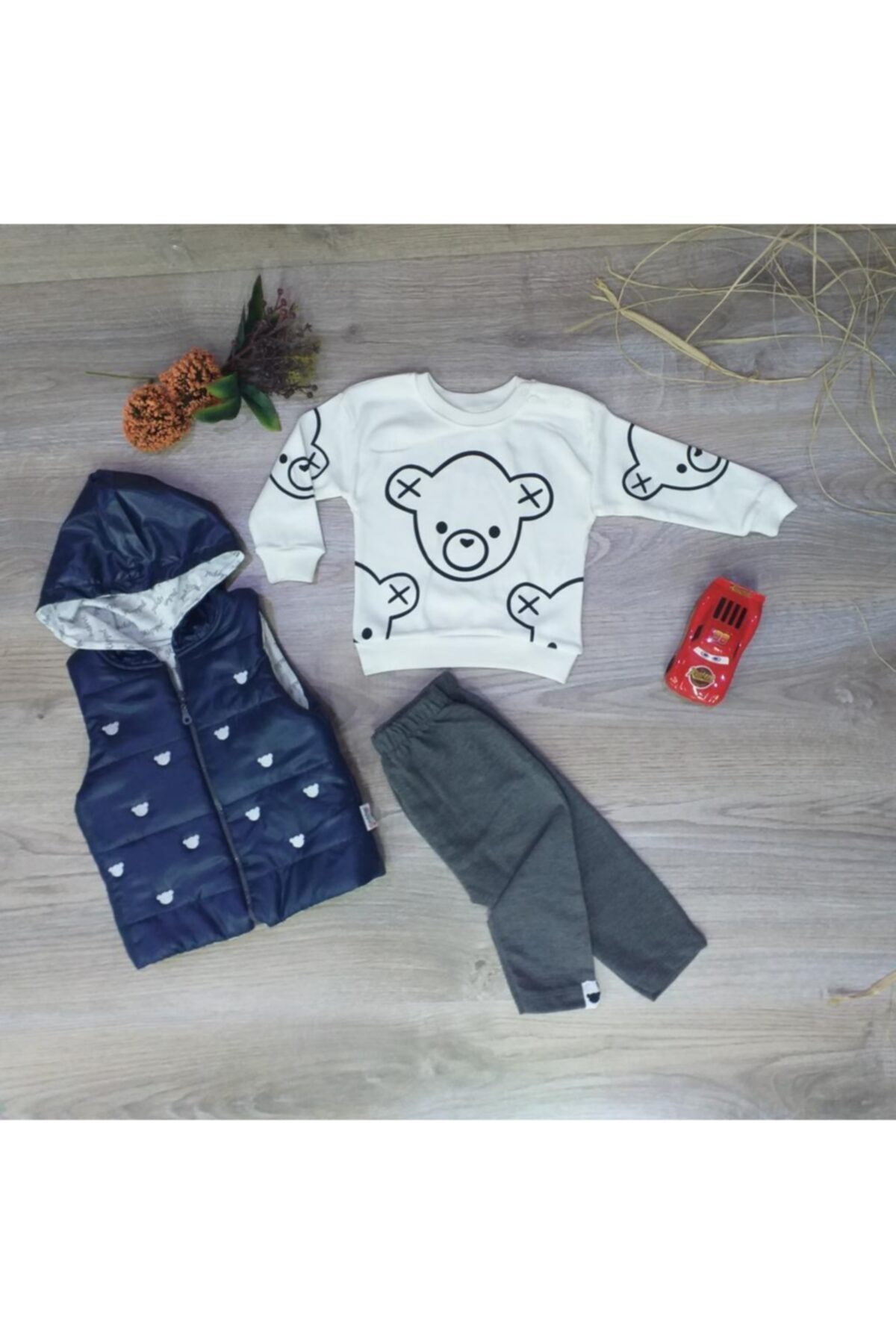 Miniworld Hippıl Baby Erkek Bebek Kapüşonlu Yelekli 3'lü Takım-1244 2