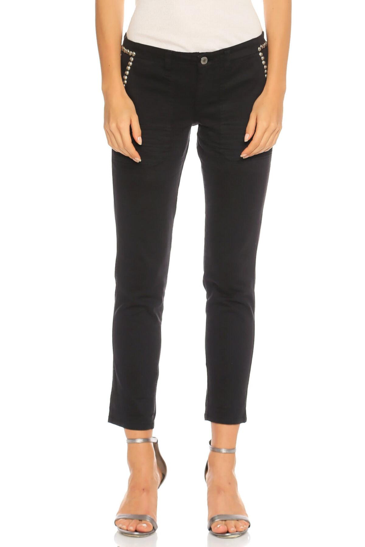 Guess Zımba Detaylı Siyah Pantolon 1