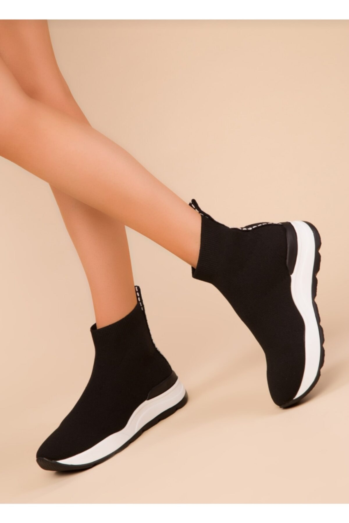 MİRKET Kadın Triko Streç Çorap Bot Sneaker Günlük Spor Ayakkabı 1