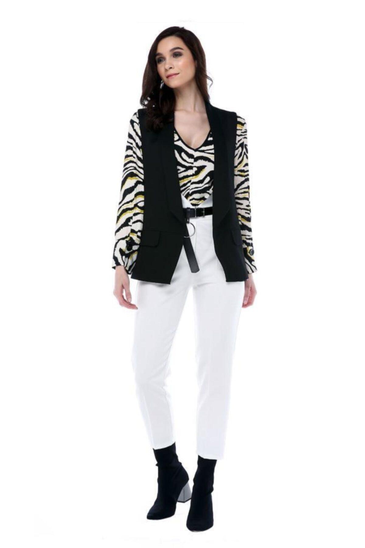 Modkofoni Yüksek Bel Deri Kemerli Beyaz Bilek Pantolon 1