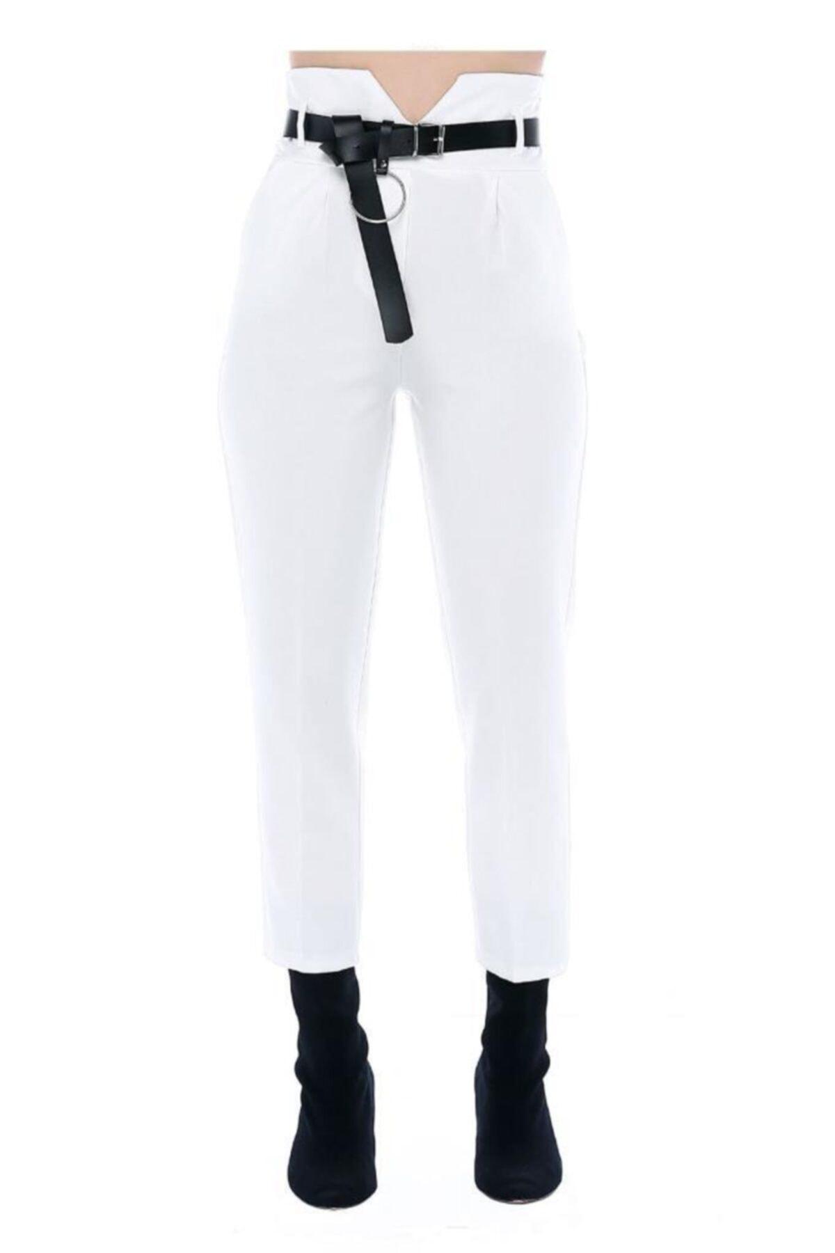 Modkofoni Yüksek Bel Deri Kemerli Beyaz Bilek Pantolon 2