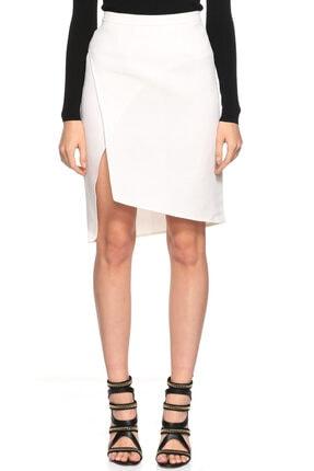 Costume National Asimetrik Kesim Yırtmaçlı Beyaz Etek