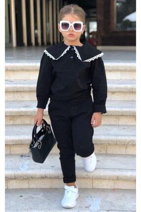 Riccotarz Kız Çocuk Black Collared Kot Alt Üst Takım