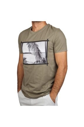 Exuma 381243 Erkek Haki Günlük Tişört