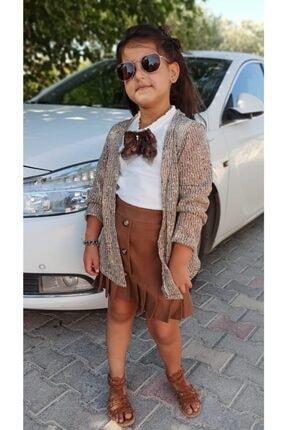 Riccotarz Kız Çocuk Hırkalı Kahverengi Etekli Takım
