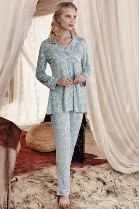 Artış Kadın  Yeşil Desenli Erkek Yaka Viskon Pijama Takım 8219-3