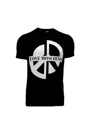 Love Moschino Erkek Bisiklet Yaka Logo Baskılı Slim Siyah T-shirt