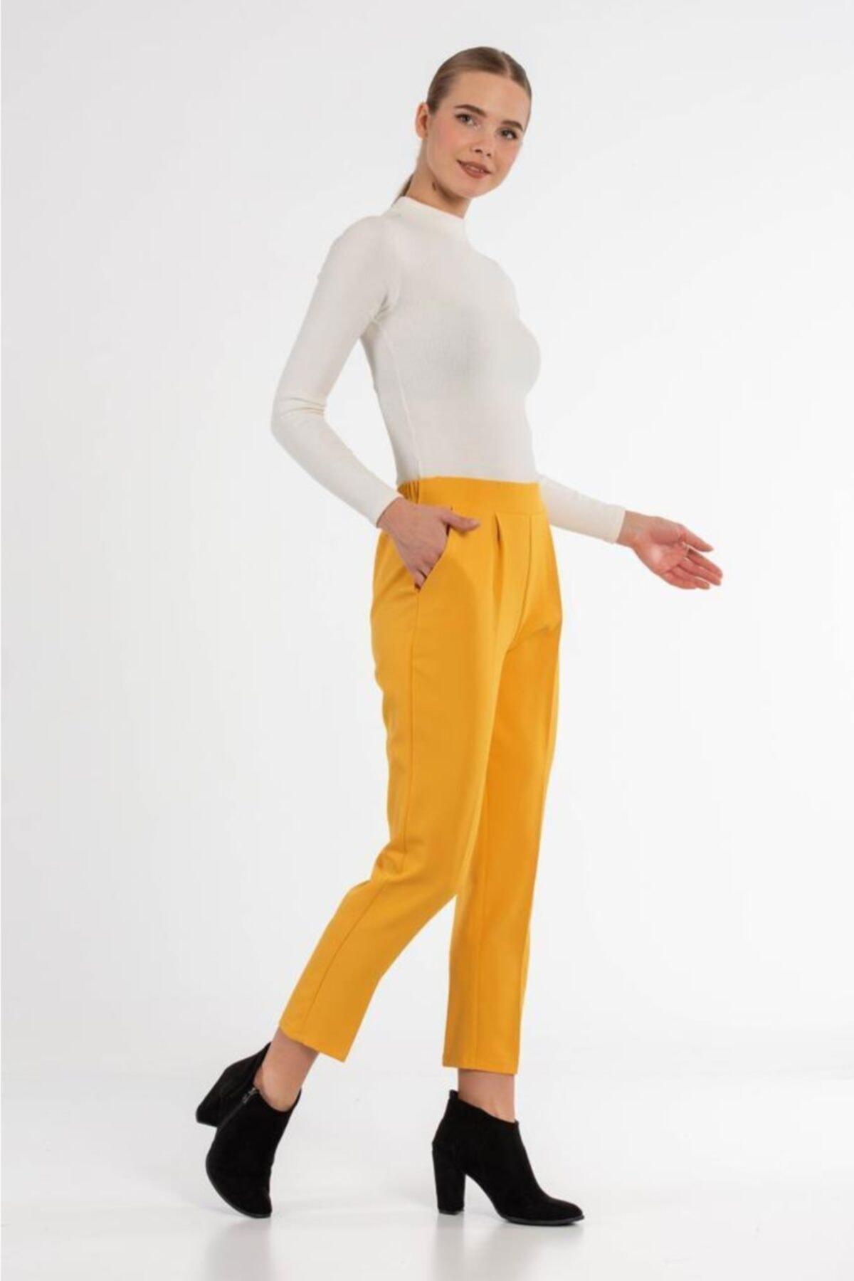Modkofoni Belden Lastikli Sarı Bilek Pantolon 2
