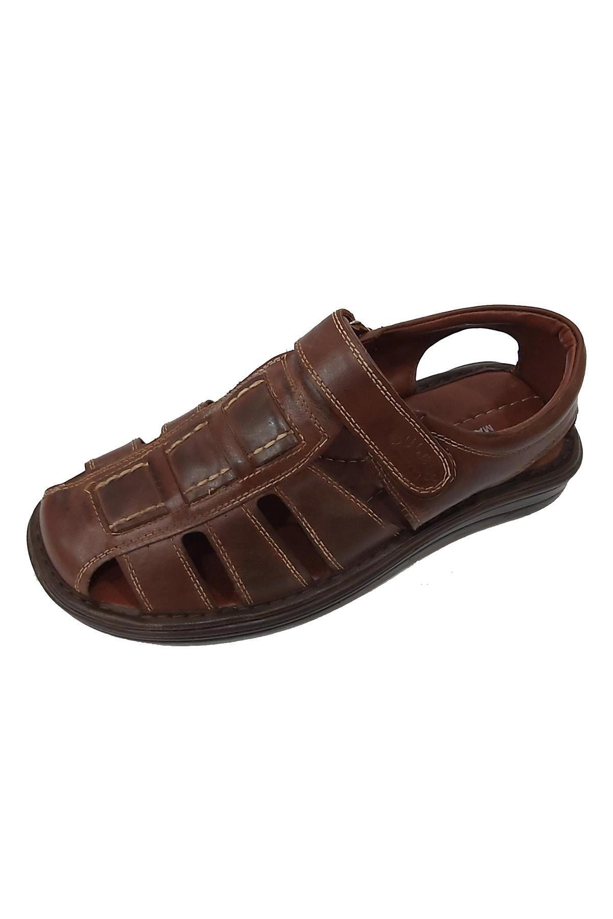 Sultan 214 Hakiki Deri Hafif Erkek Sandalet 1