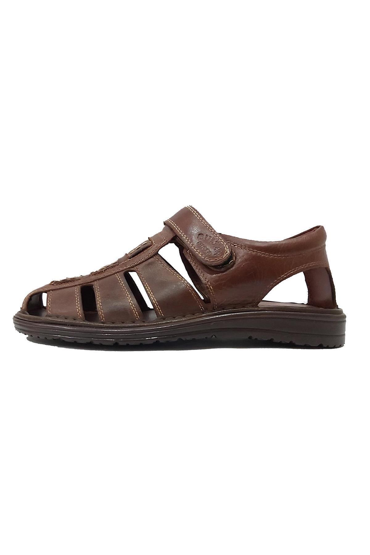 Sultan 214 Hakiki Deri Hafif Erkek Sandalet 2