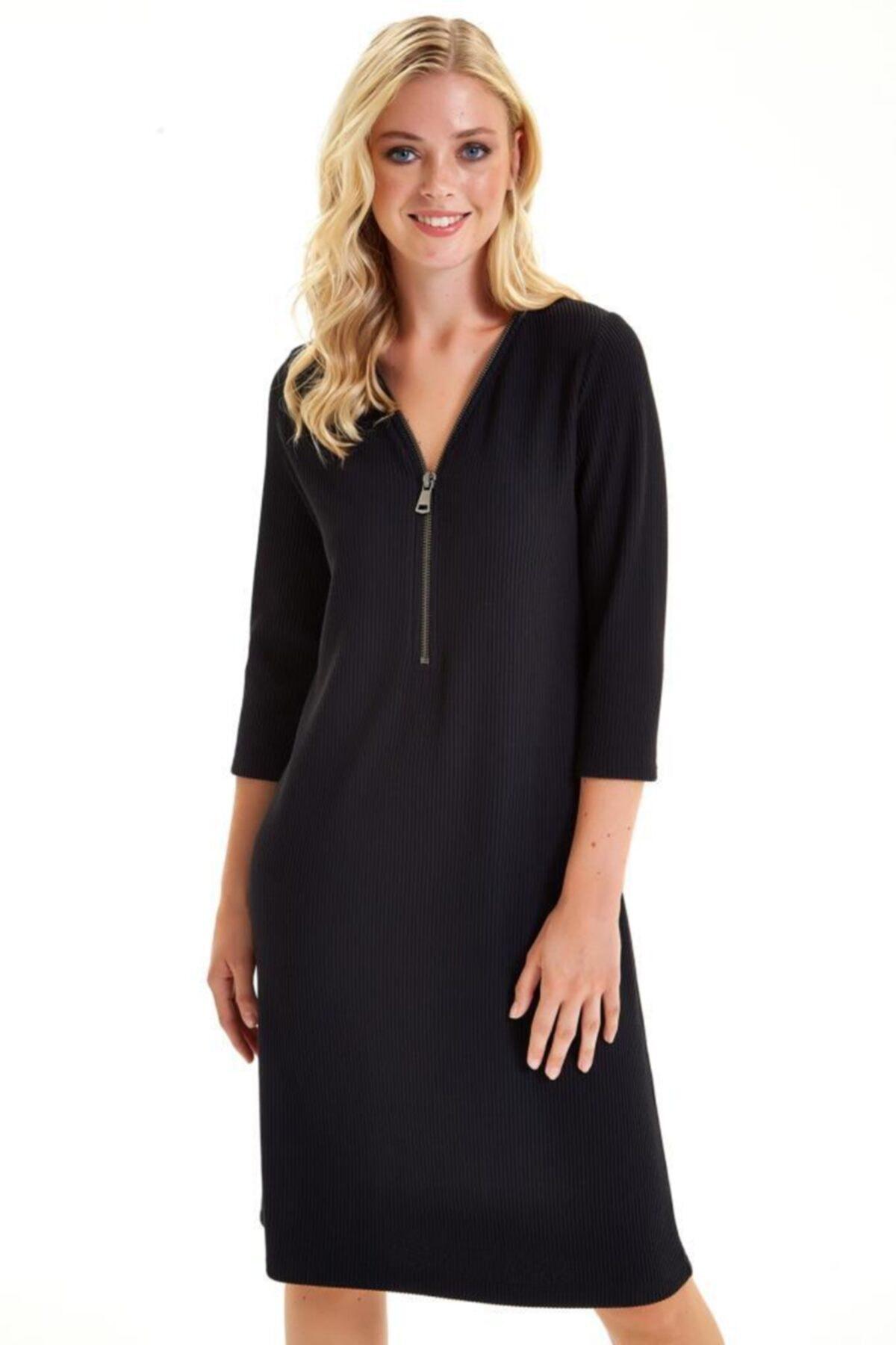 İKİLER Yakası Fermuarlı Turvakar Kol Elbise 201-2506 1