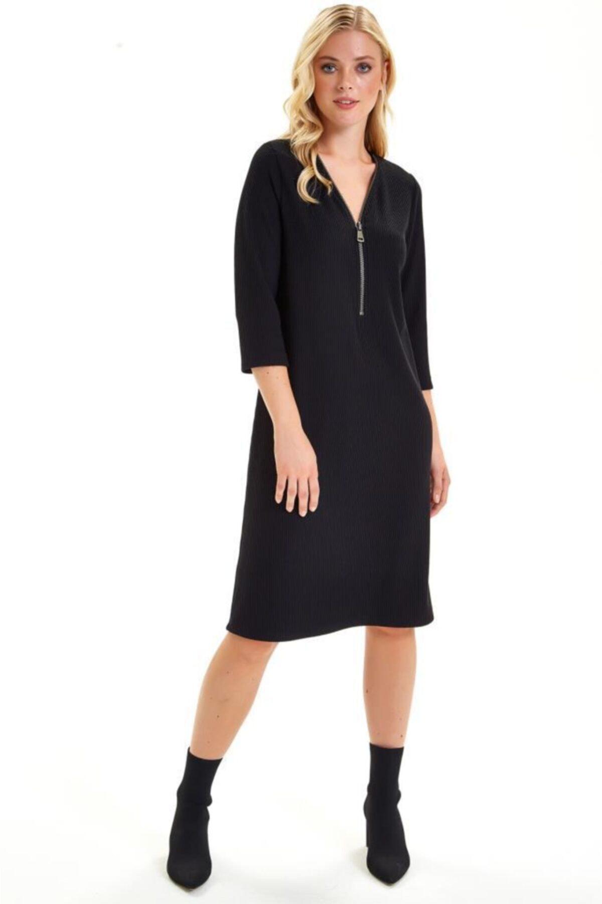 İKİLER Yakası Fermuarlı Turvakar Kol Elbise 201-2506 2