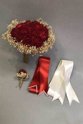Hayalperest boncuk Kırmızı Kadife Güllü Gelin Çiçeği Ve Takı Kurdelesi
