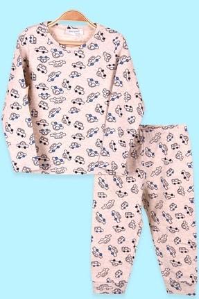 Breeze Erkek Çocuk Pijama Takımı Araba Desenli Bej (1.5-4 Yaş)