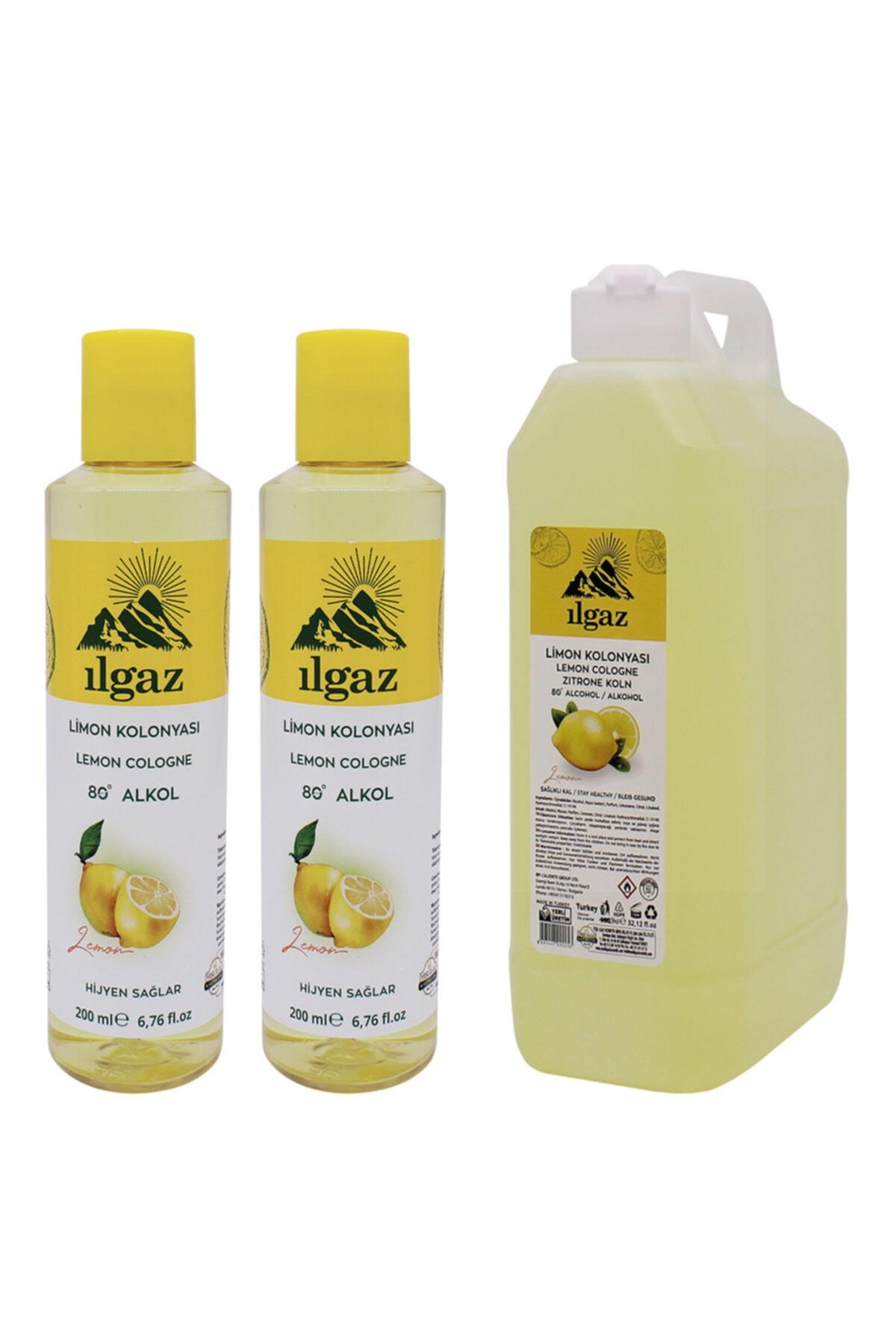 ILGAZ Limon Kolonyası 2x200 ml +1000 ml Bidon Limon Kolonyası Doldurulabilir Huni Kapak Kolonya Seti 1
