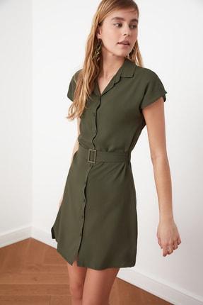 TRENDYOLMİLLA Haki Kemerli Gömlek Elbise TWOSS19EL0151
