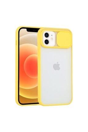 """Teknoçeri Iphone 11 6.1"""" Uyumlu Kamera Lens Korumalı Sürgülü Sarı Kılıf"""