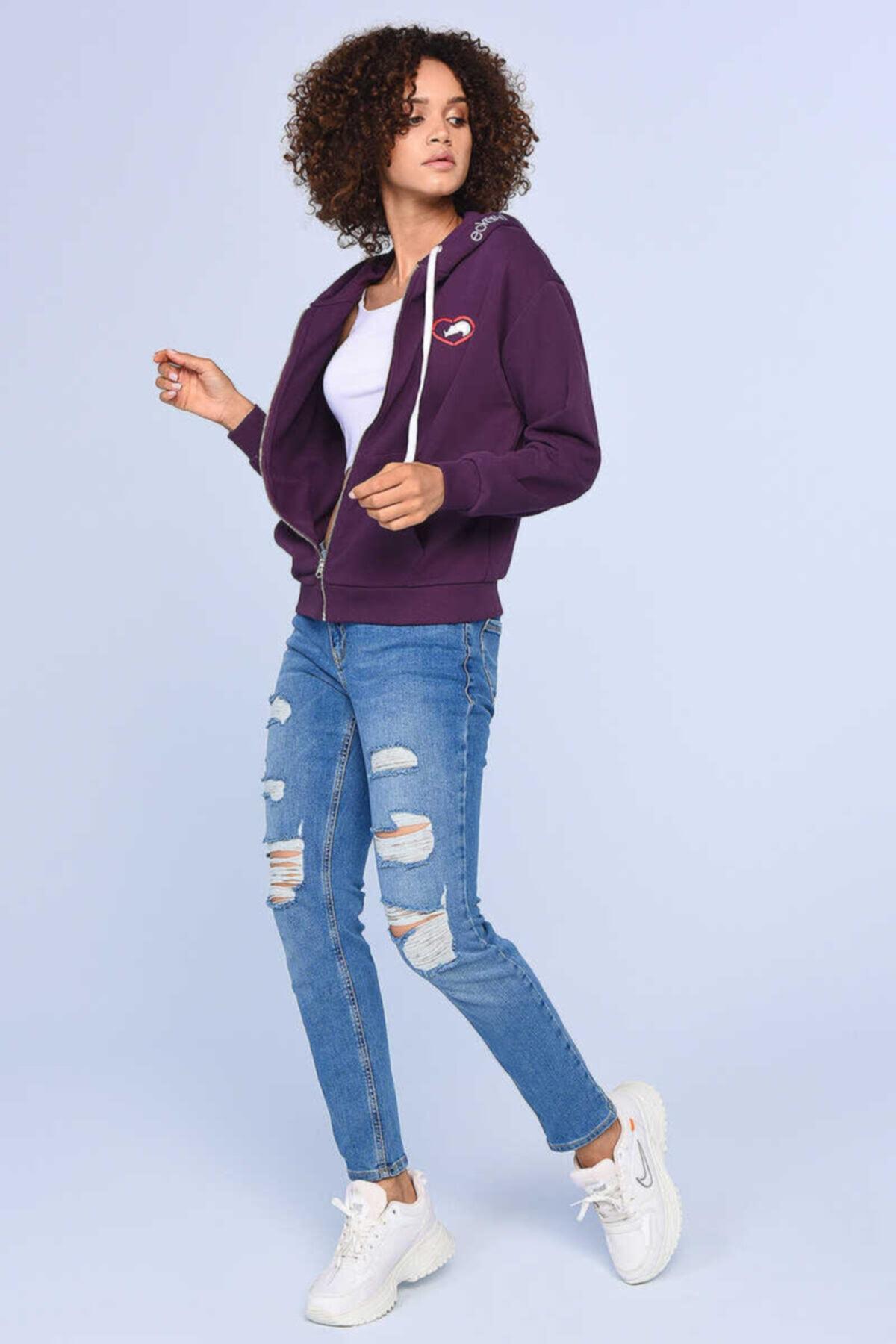 ECKO UNLTD ECKO RED HEIDI Mor Kadın Nakışlı Fermuarlı Sweatshirt 2