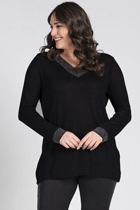 Gül Moda Kadın Siyah Sim Detaylı Uzun Kollu Bluz G051 1u