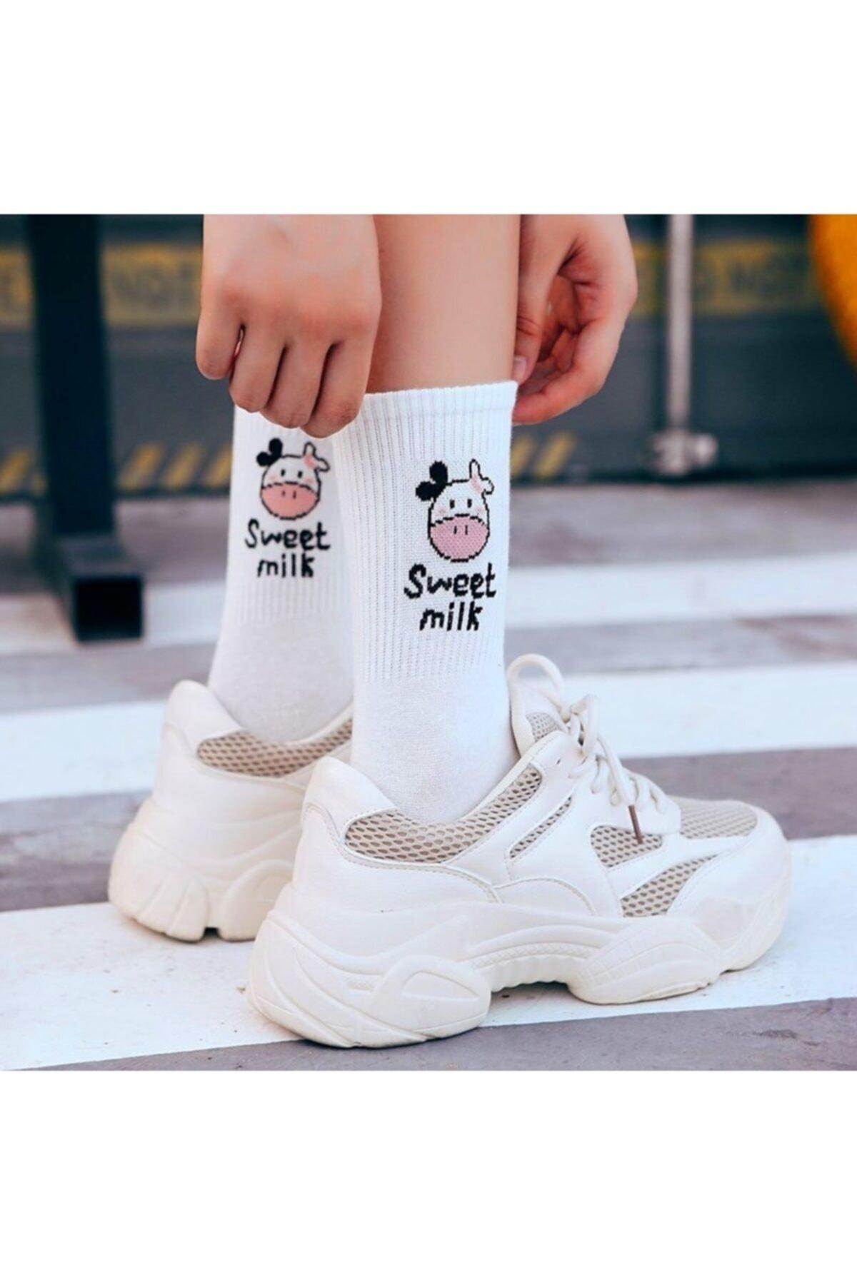 çorapmanya Kadın 5 Çift Siyah + Beyaz Inek Desenli Çizgili Tenis Çorabı 2