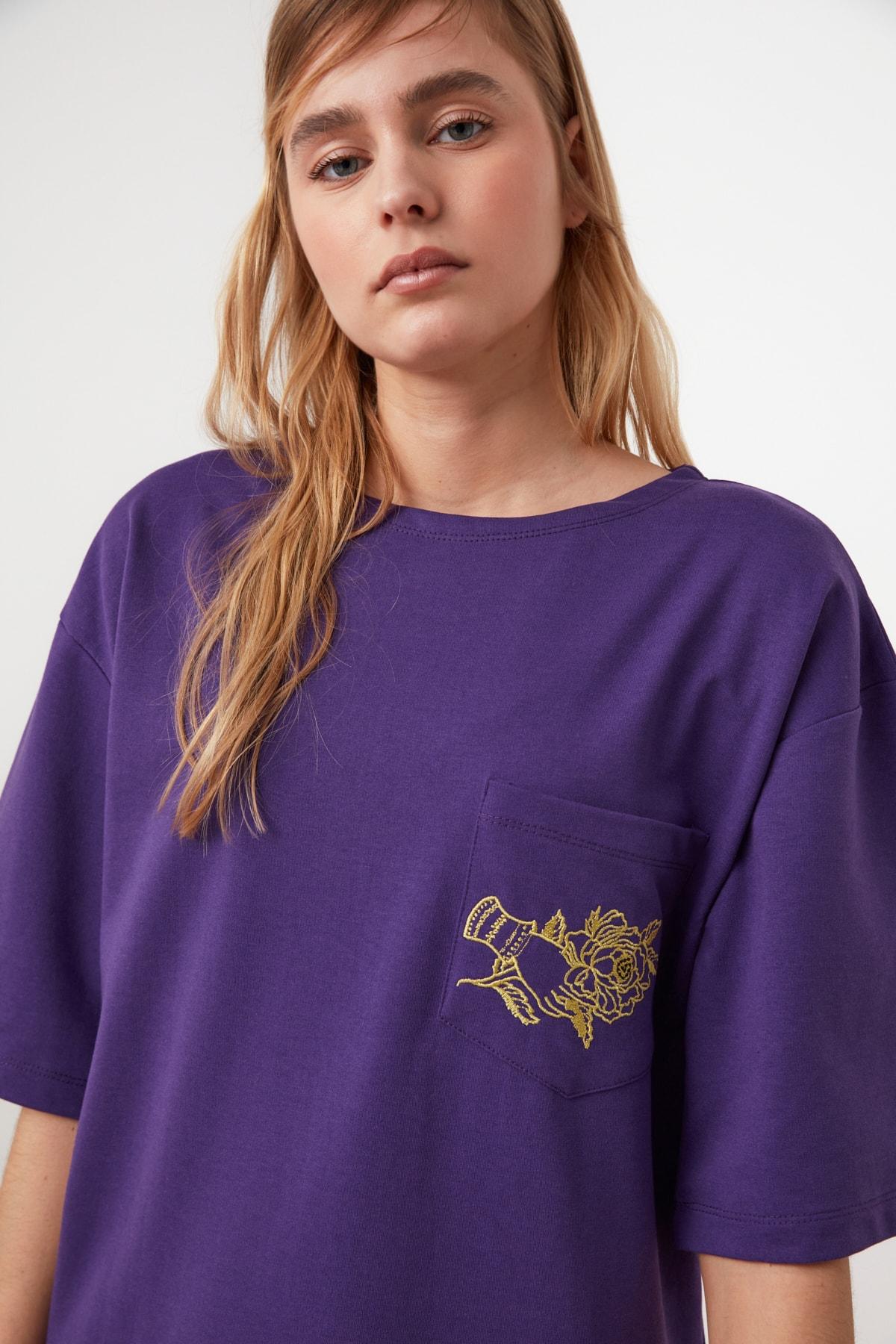 TRENDYOLMİLLA Mor Nakışlı Örme Elbise TWOSS21EL0175 2