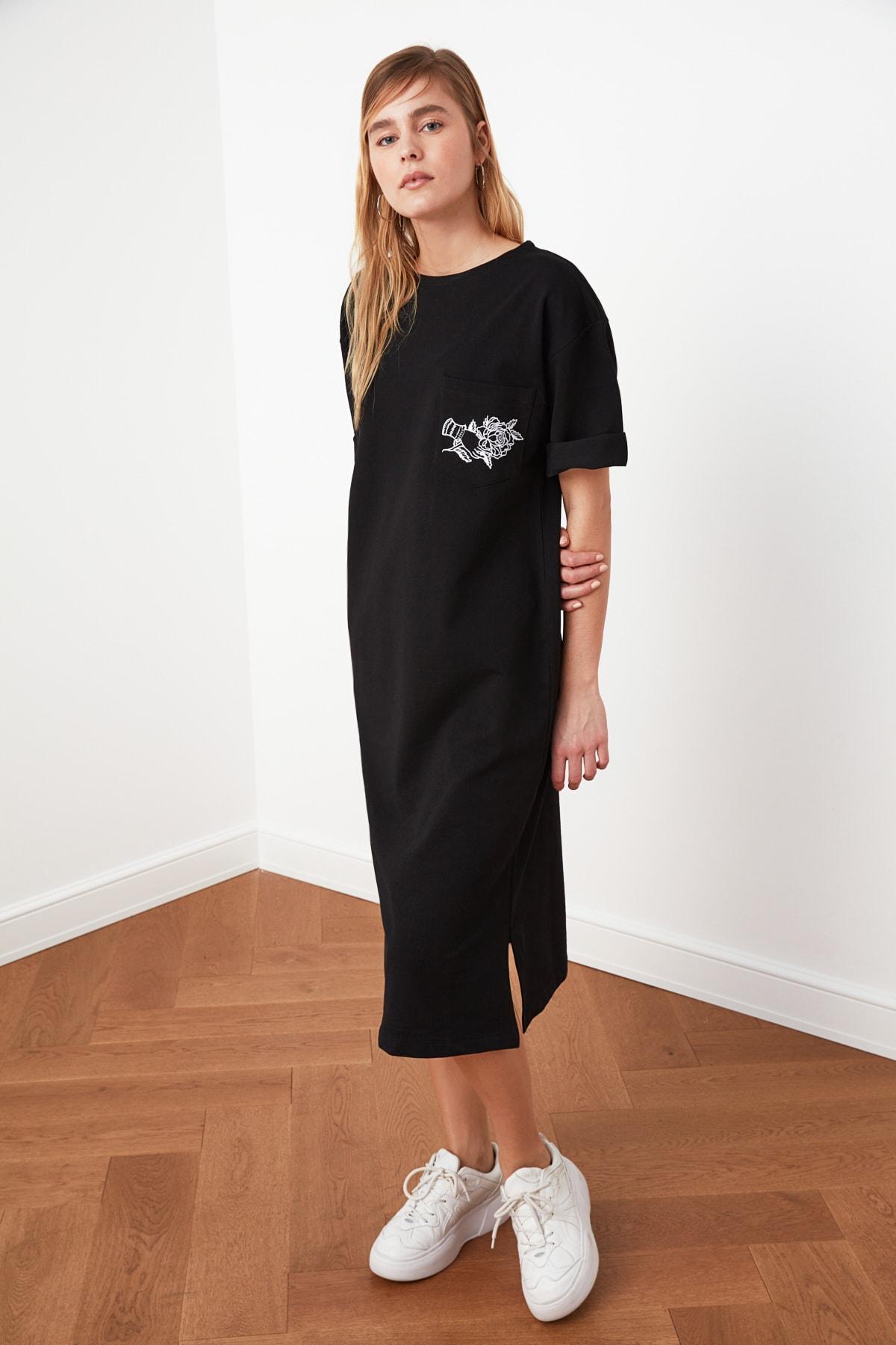 TRENDYOLMİLLA Siyah Nakışlı Örme Elbise TWOSS21EL0175 2