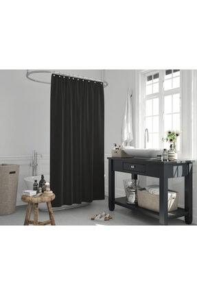 Jackline Polyester Kumaş Siyah Renk Banyo Perdesi Yerli Üretim Duş Perdesi
