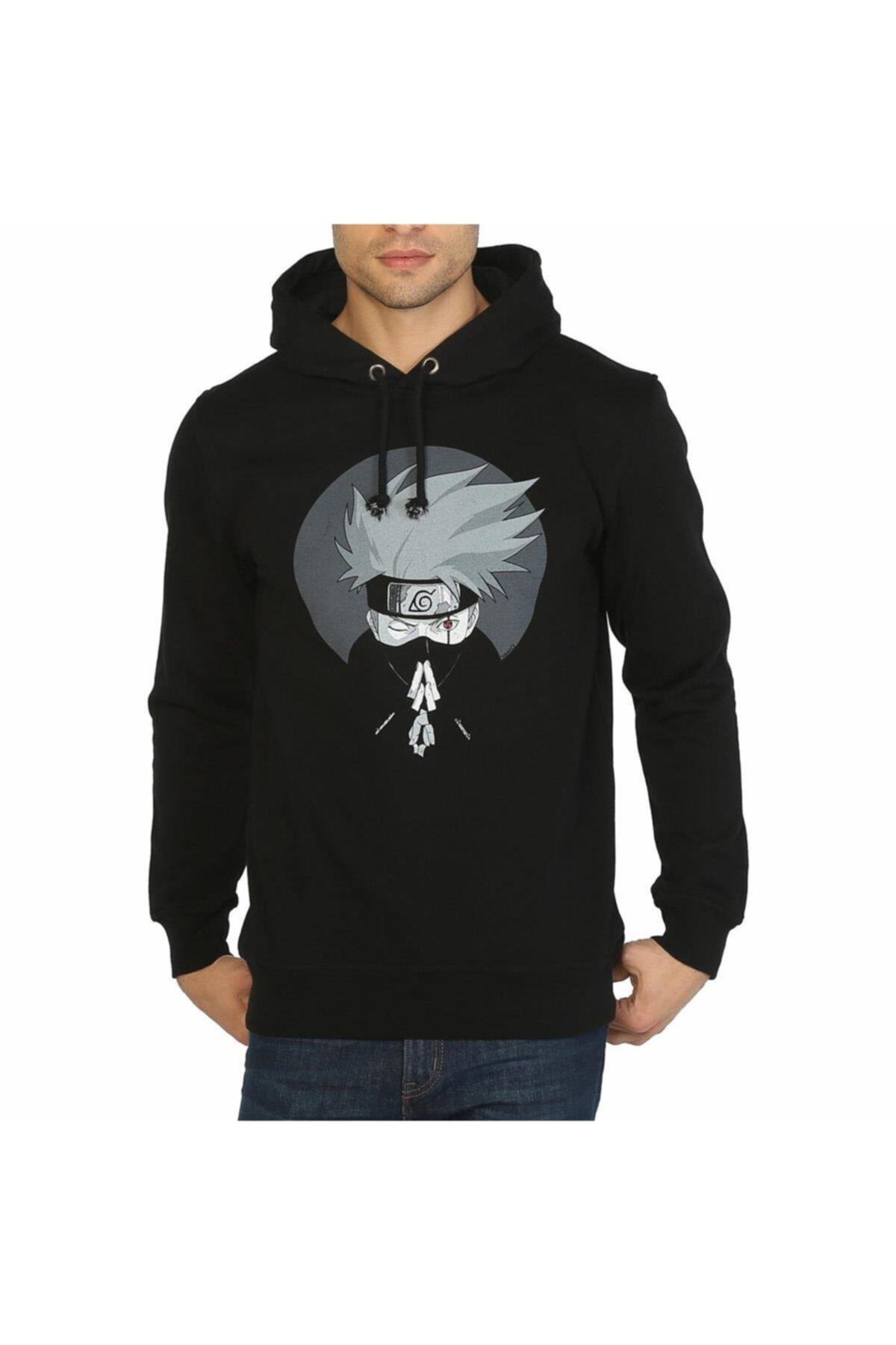 Bant Giyim - Naruto Kakashi Siyah Kapşonlu Erkek Sweatshirt 1