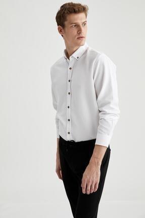 DeFacto Erkek Beyaz Modern Fit Uzun Kollu Basic Gömlek