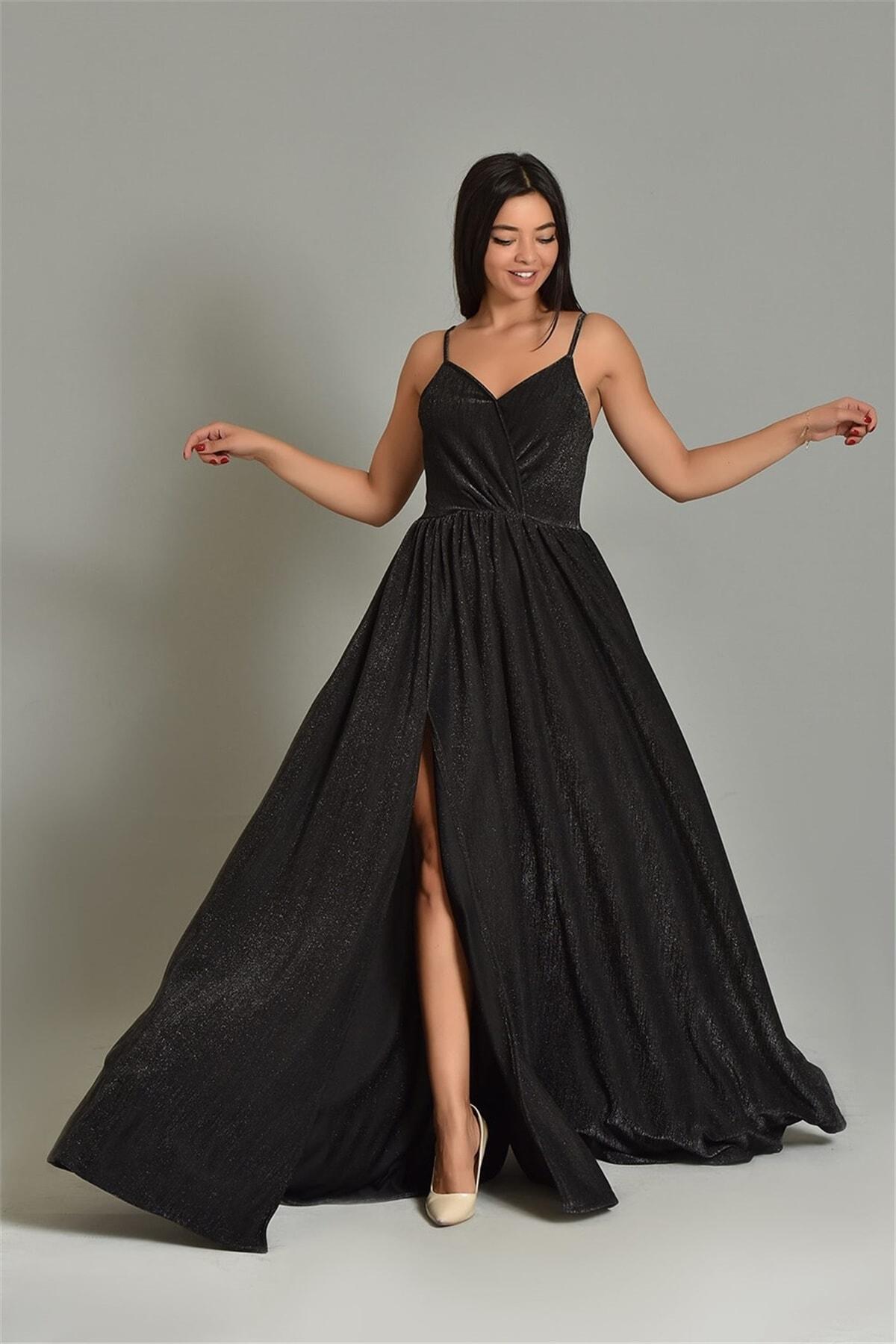 Modakapimda Siyah Ip Askılı Simli Kumaş Yırtmaçlı Abiye Elbise 1